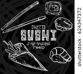 sushi objects japanese food  | Shutterstock .eps vector #624347372