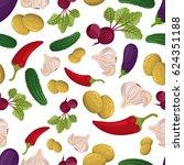 vegetables seamless pattern | Shutterstock .eps vector #624351188