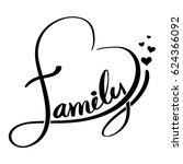 family lettering heart shaped.... | Shutterstock .eps vector #624366092
