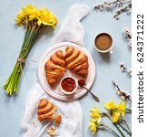 breakfast with fresh french... | Shutterstock . vector #624371222