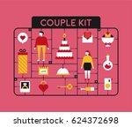 plastic model kit toy couple... | Shutterstock .eps vector #624372698