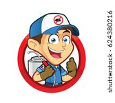 exterminator or pest control in ... | Shutterstock .eps vector #624380216