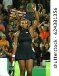 Small photo of RIO DE JANEIRO, BRAZIL - AUGUST 8, 2016: Olympic champions Serena Williams of United States celebrates victory after singles round two match of the Rio 2016 Olympic Games at the Olympic Tennis Centre