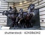 Small photo of LONDON, GREAT BRITAIN - MAY 12, 2014: This is a bronze sculpture of the four horses of the Greek God Sun's Helios: Aethon, Eos, Phlegon, and Pyrois.
