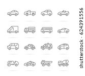 car vector line icons  minimal... | Shutterstock .eps vector #624391556