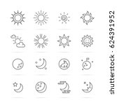 day and night vector line icons ... | Shutterstock .eps vector #624391952