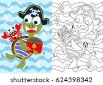 vector cartoon of turtle the... | Shutterstock .eps vector #624398342