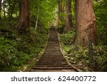 the stone stairs of mt. haguro... | Shutterstock . vector #624400772