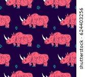 cartoon mascot rhinoceros... | Shutterstock .eps vector #624403256
