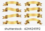 set of golden ribbons on gray... | Shutterstock .eps vector #624424592