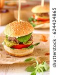 mini burger sliders with sweet... | Shutterstock . vector #624424865