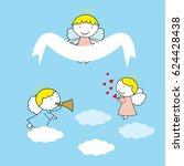lovely small angels on blue... | Shutterstock .eps vector #624428438
