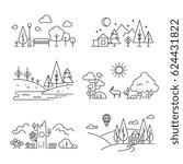 nature landscape outline icons... | Shutterstock .eps vector #624431822