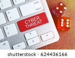 Small photo of Cyber Threat. Keyboard and dice. Internet threat concept.