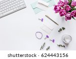 trendy design of workdesk with... | Shutterstock . vector #624443156