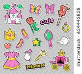 girl princess badges  patches ... | Shutterstock .eps vector #624443828