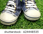baby sport shoes on grass... | Shutterstock . vector #624448535