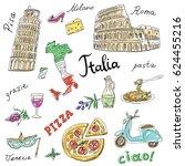 set of italy symbols landmarks... | Shutterstock .eps vector #624455216