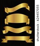 set of golden ribbons on black... | Shutterstock .eps vector #624457055