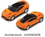 isometric luxury sport car... | Shutterstock .eps vector #624460658