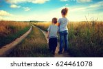 little boy and girl in the... | Shutterstock . vector #624461078