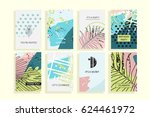 universal floral posters set.... | Shutterstock . vector #624461972