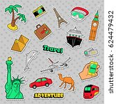 travel and vacations badges ... | Shutterstock .eps vector #624479432