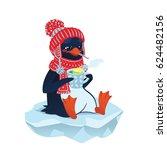 Cute Sick Penguin In Funny Hat...