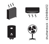 heating icons set. black on a...