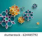 paper graphic of islamic... | Shutterstock .eps vector #624485792