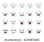 set of expressions emoji faces | Shutterstock .eps vector #624487682