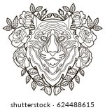 tiger head and flowers. vector... | Shutterstock .eps vector #624488615