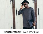 young african man in sunglasses ... | Shutterstock . vector #624490112
