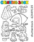 coloring book with camping... | Shutterstock .eps vector #62449135