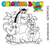 coloring book with cute animals ... | Shutterstock .eps vector #62449141
