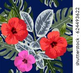tropical seamless floral... | Shutterstock .eps vector #624493622