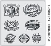 set of bakery labels  badges ... | Shutterstock .eps vector #624508346