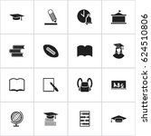 set of 16 editable education... | Shutterstock .eps vector #624510806