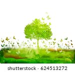 watercolor nature tree and... | Shutterstock . vector #624513272