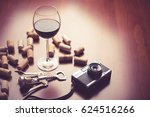 retro camera and wine on wood... | Shutterstock . vector #624516266