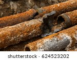 fragments of old cast iron...   Shutterstock . vector #624523202