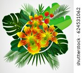 tropical leaves with yellow... | Shutterstock . vector #624531062