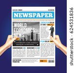 man reading a newspaper... | Shutterstock .eps vector #624531836