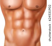 realistic abs pack of naked man ... | Shutterstock .eps vector #624531902