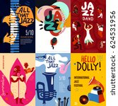 Colorful jazz festival musicians singers and musical instruments poster set flat isolated vector illustration | Shutterstock vector #624531956