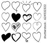 heart doodles set  hand drawn ... | Shutterstock .eps vector #624532322