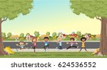 colorful houses in suburb... | Shutterstock .eps vector #624536552