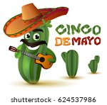 mexican fun cactus in sombrero... | Shutterstock .eps vector #624537986