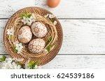 easter eggs on wooden... | Shutterstock . vector #624539186