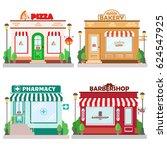 set of front facade buildings ... | Shutterstock .eps vector #624547925